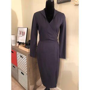 Lafayette 148 New York Wool Blend Wrap Dress sz 2